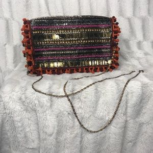 Steve Madden Boho Sequin Beaded Pom Pom Crossbody